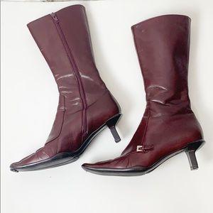 Burgundy Red Prada Leather Boots